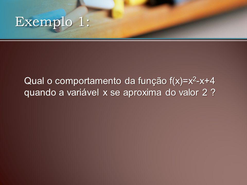 Qual o comportamento da função f(x)=x 2 -x+4 quando a variável x se aproxima do valor 2 .
