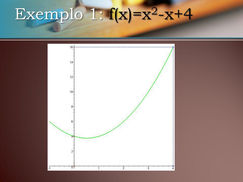 Exemplo 1: f(x)=x 2 -x+4