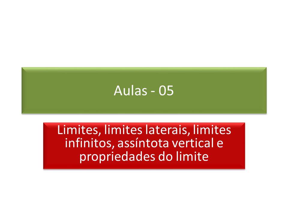 Aulas - 05 Limites, limites laterais, limites infinitos, assíntota vertical e propriedades do limite