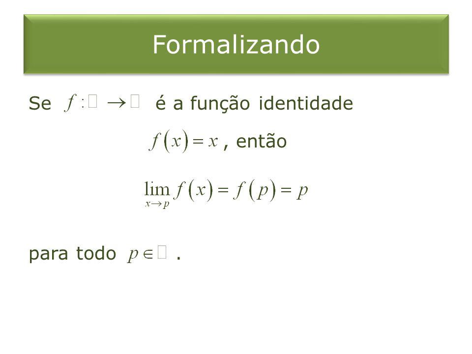 Formalizando Se é a função identidade, então para todo.