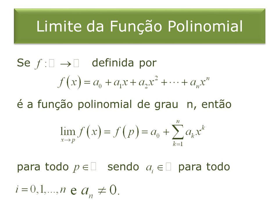 Limite da Função Polinomial Se definida por é a função polinomial de grau n, então para todo sendo para todo