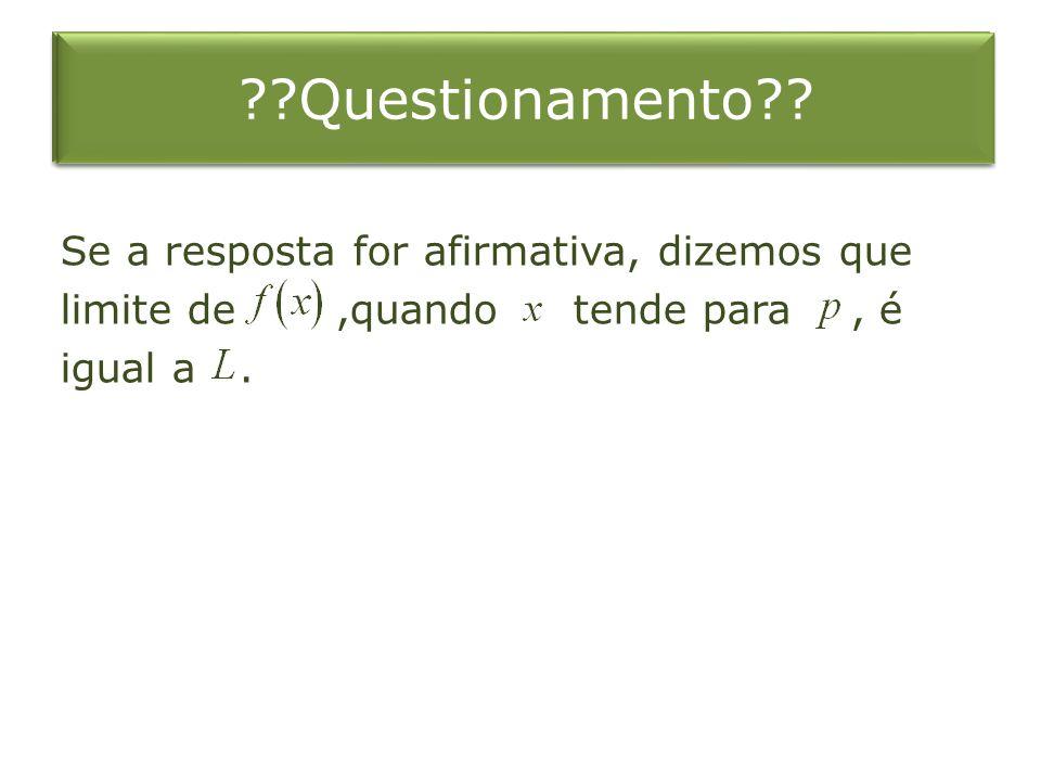 Se a resposta for afirmativa, dizemos que limite de,quando tende para, é igual a. ??Questionamento??