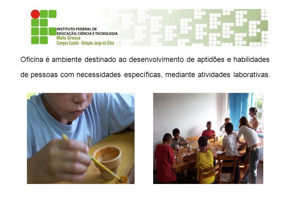 Oficina é ambiente destinado ao desenvolvimento de aptidões e habilidades de pessoas com necessidades específicas, mediante atividades laborativas.