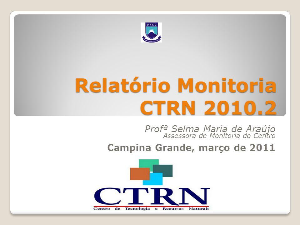 Relatório Monitoria CTRN 2010.2 Profª Selma Maria de Araújo Assessora de Monitoria do Centro Campina Grande, março de 2011