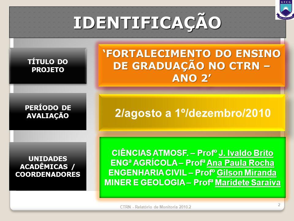 IDENTIFICAÇÃO FORTALECIMENTO DO ENSINO DE GRADUAÇÃO NO CTRN – ANO 2 2/agosto a 1º/dezembro/2010 CIÊNCIAS ATMOSF.