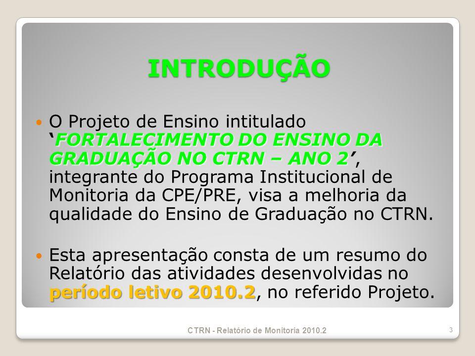 INTRODUÇÃO FORTALECIMENTO DO ENSINO DA GRADUAÇÃO NO CTRN – ANO 2 O Projeto de Ensino intituladoFORTALECIMENTO DO ENSINO DA GRADUAÇÃO NO CTRN – ANO 2, integrante do Programa Institucional de Monitoria da CPE/PRE, visa a melhoria da qualidade do Ensino de Graduação no CTRN.