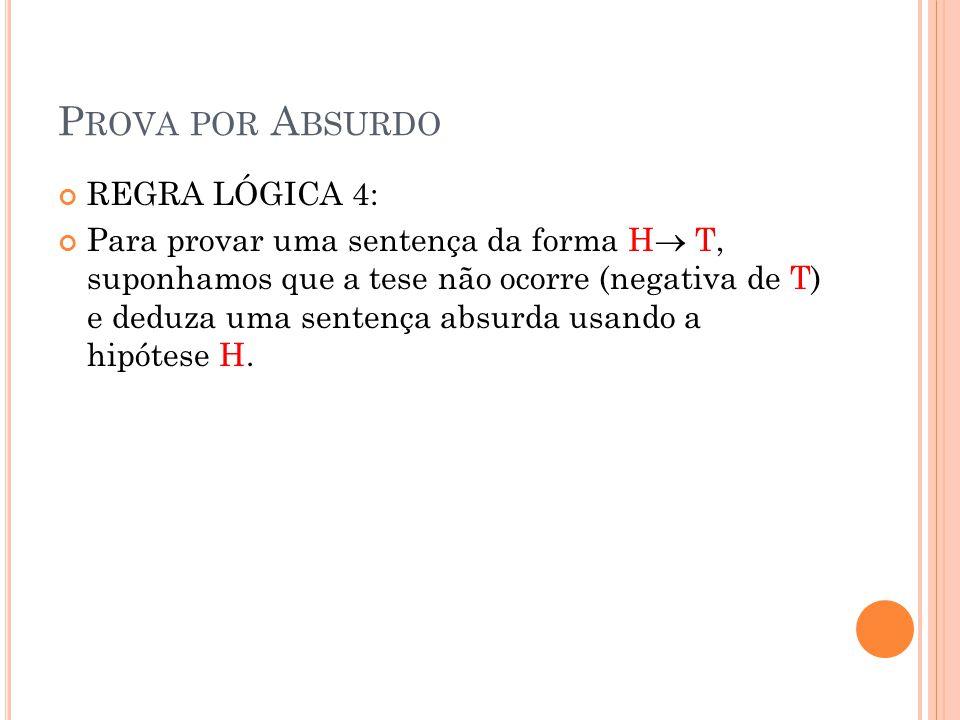 P ROVA POR A BSURDO REGRA LÓGICA 4: Para provar uma sentença da forma H T, suponhamos que a tese não ocorre (negativa de T) e deduza uma sentença absu