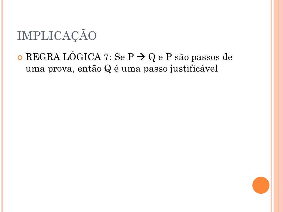 IMPLICAÇÃO REGRA LÓGICA 7: Se P Q e P são passos de uma prova, então Q é uma passo justificável