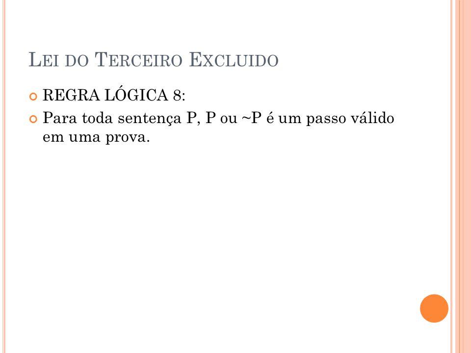 L EI DO T ERCEIRO E XCLUIDO REGRA LÓGICA 8: Para toda sentença P, P ou ~P é um passo válido em uma prova.