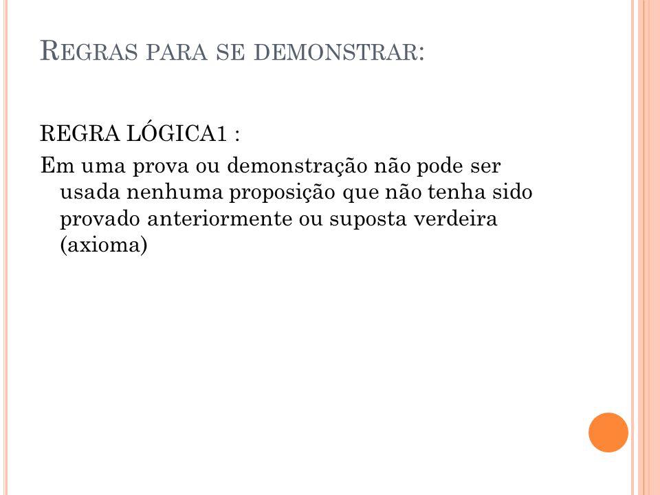 R EGRAS PARA SE DEMONSTRAR : REGRA LÓGICA1 : Em uma prova ou demonstração não pode ser usada nenhuma proposição que não tenha sido provado anteriormen