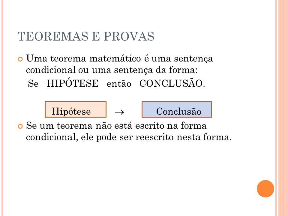 TEOREMAS E PROVAS Uma teorema matemático é uma sentença condicional ou uma sentença da forma: Se HIPÓTESE então CONCLUSÃO. Hipótese Conclusão Se um te