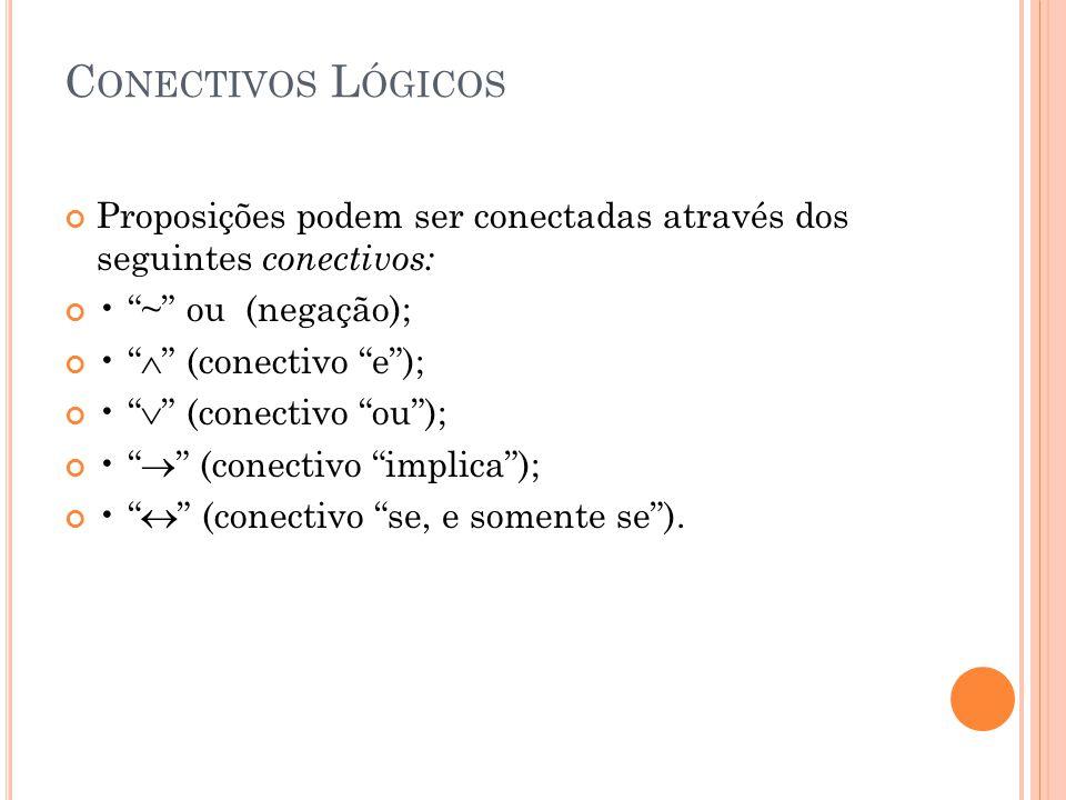 C ONECTIVOS L ÓGICOS Proposições podem ser conectadas através dos seguintes conectivos: ~ ou (negação); (conectivo e); (conectivo ou); (conectivo impl