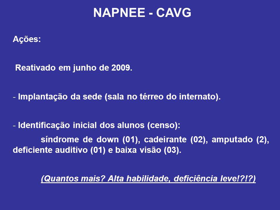 NAPNEE - CAVG Ações: Reativado em junho de 2009. - Implantação da sede (sala no térreo do internato). - Identificação inicial dos alunos (censo): sínd