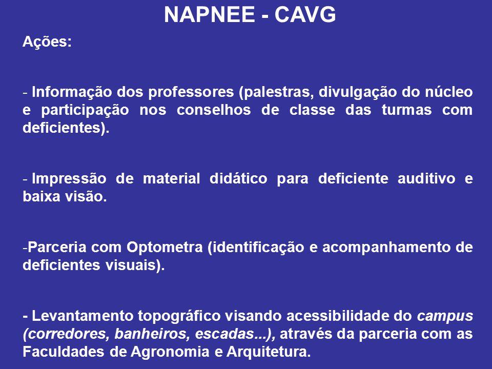 NAPNEE - CAVG Ações: - Informação dos professores (palestras, divulgação do núcleo e participação nos conselhos de classe das turmas com deficientes).
