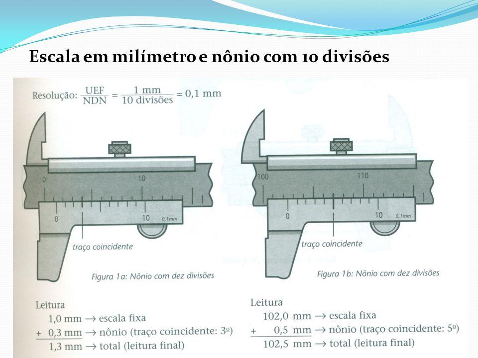 Escala em milímetro e nônio com 10 divisões