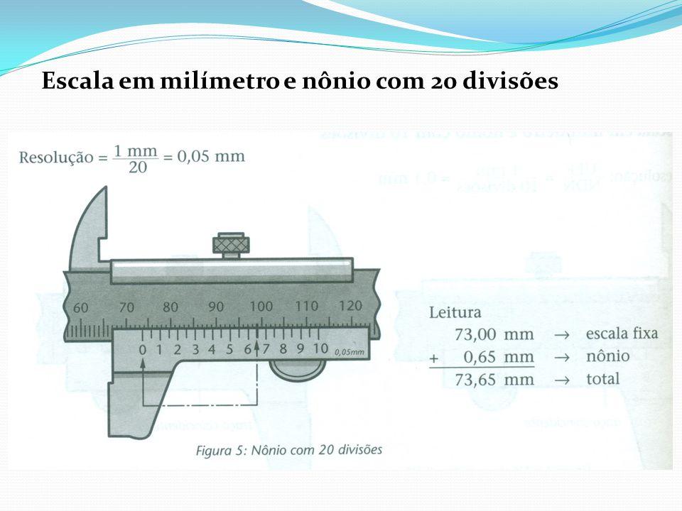 Escala em milímetro e nônio com 20 divisões