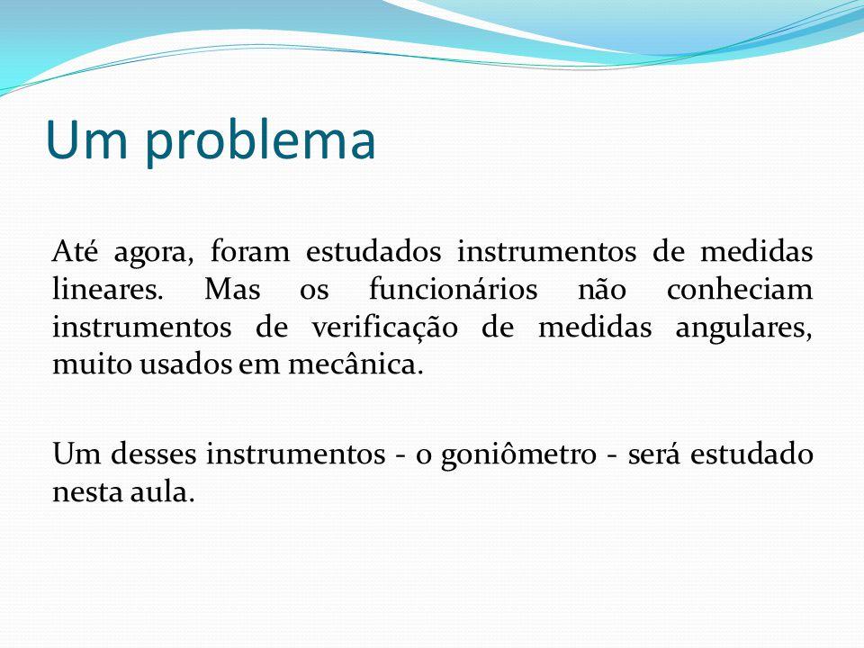 Um problema Até agora, foram estudados instrumentos de medidas lineares. Mas os funcionários não conheciam instrumentos de verificação de medidas angu