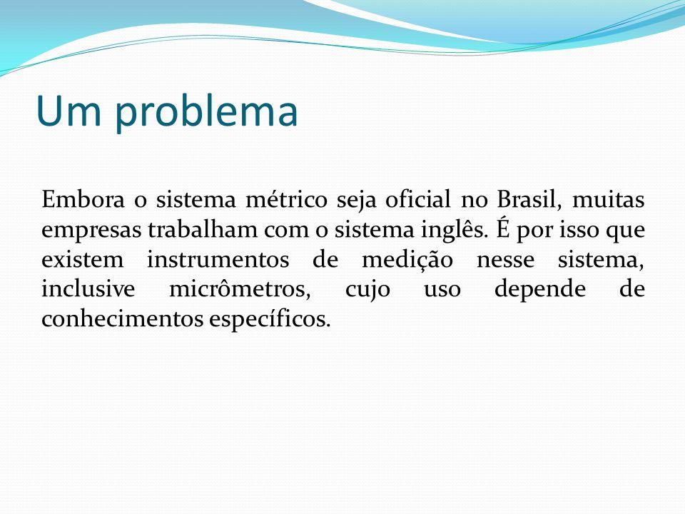 Um problema Embora o sistema métrico seja oficial no Brasil, muitas empresas trabalham com o sistema inglês. É por isso que existem instrumentos de me