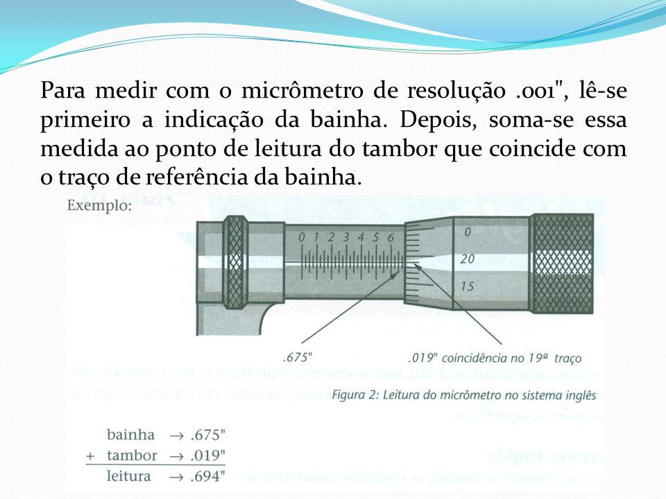 Para medir com o micrômetro de resolução.001