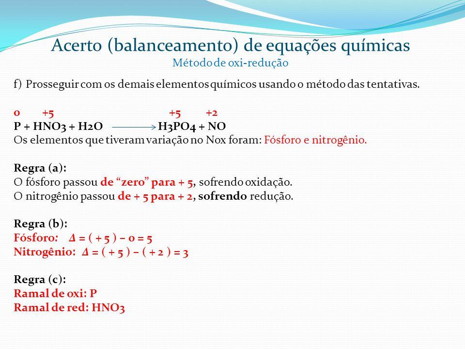 f) Prosseguir com os demais elementos químicos usando o método das tentativas. 0 +5 +5 +2 P + HNO3 + H2O H3PO4 + NO Os elementos que tiveram variação