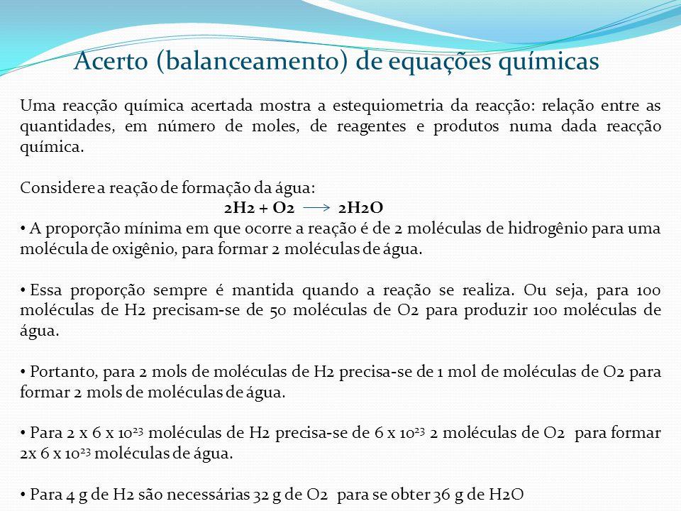 Acerto (balanceamento) de equações químicas Ao se determinar os coeficientes estequiométricos pode-se interpretar a reação de várias maneiras: relacionar os números de mols; relacionar os números de moléculas; relacionar as massas das substâncias.