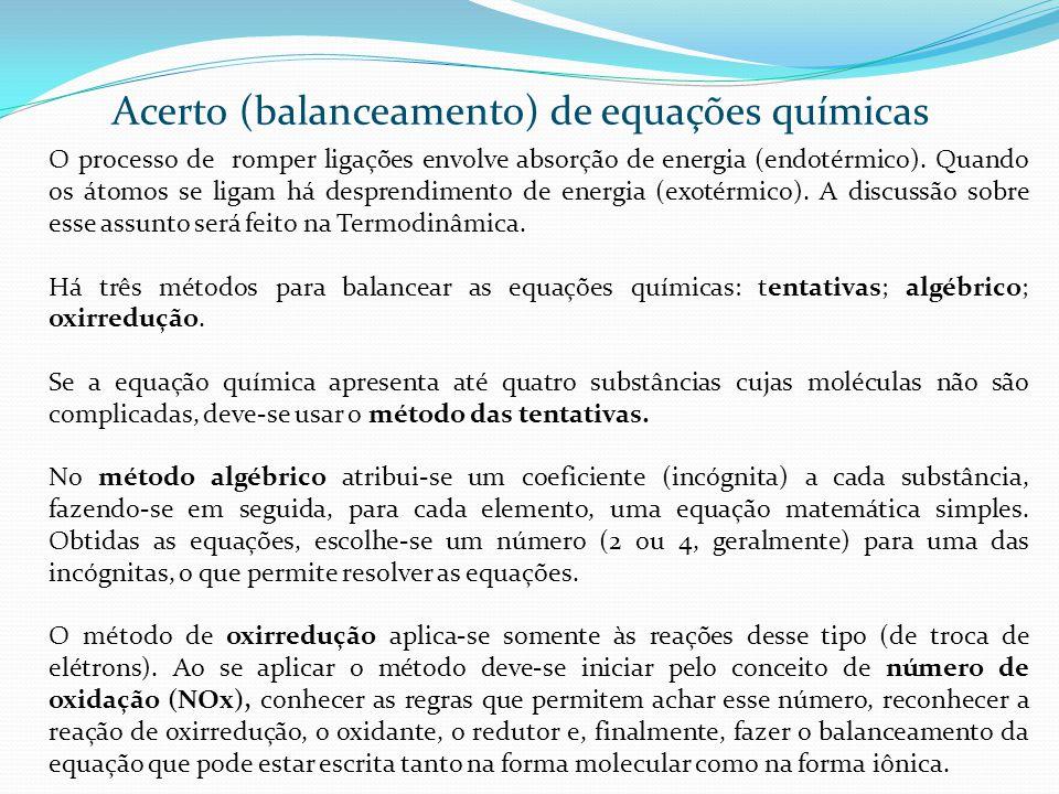 Acerto (balanceamento) de equações químicas Método das Tentativas.