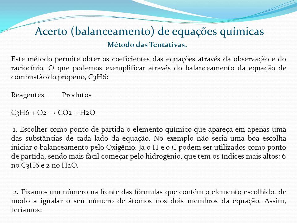 Acerto (balanceamento) de equações químicas Método das Tentativas. Este método permite obter os coeficientes das equações através da observação e do r
