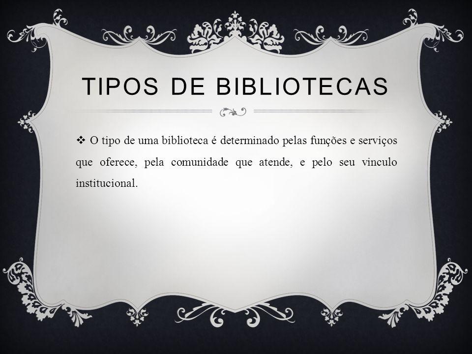 TIPOS DE BIBLIOTECAS O tipo de uma biblioteca é determinado pelas funções e serviços que oferece, pela comunidade que atende, e pelo seu vinculo institucional.