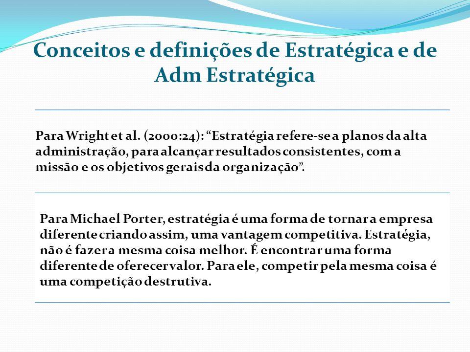 Conceitos e definições de Estratégica e de Adm Estratégica Para Wright et al. (2000:24): Estratégia refere-se a planos da alta administração, para alc
