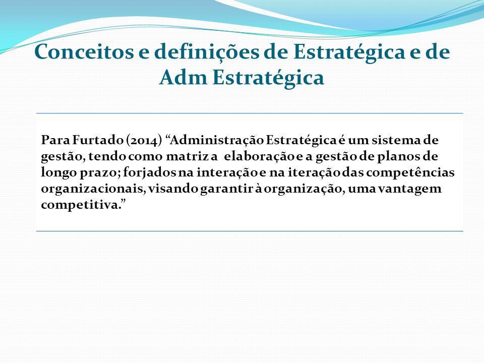 Conceitos e definições de Estratégica e de Adm Estratégica Para Furtado (2014) Administração Estratégica é um sistema de gestão, tendo como matriz a elaboração e a gestão de planos de longo prazo; forjados na interação e na iteração das competências organizacionais, visando garantir à organização, uma vantagem competitiva.