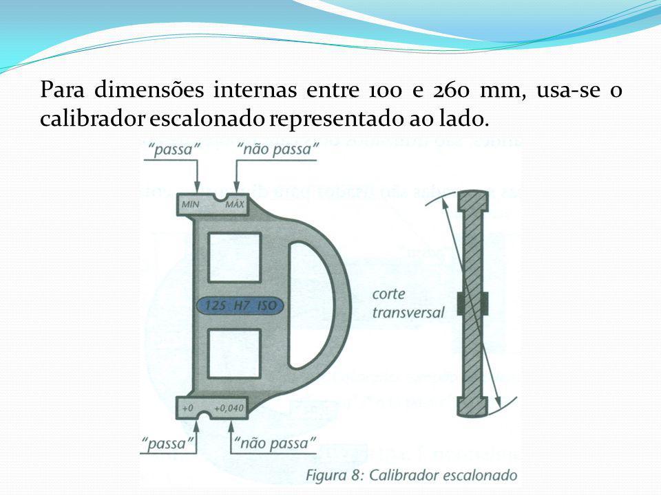 Para dimensões internas entre 100 e 260 mm, usa-se o calibrador escalonado representado ao lado.