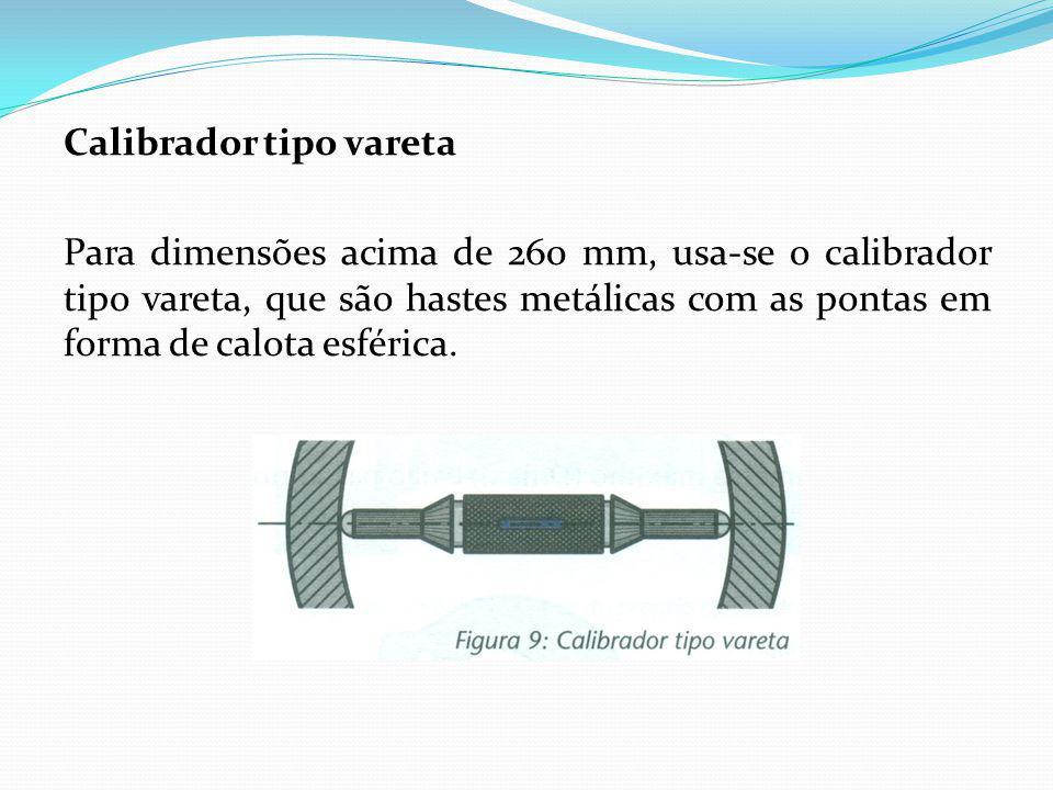 Calibrador tipo vareta Para dimensões acima de 260 mm, usa-se o calibrador tipo vareta, que são hastes metálicas com as pontas em forma de calota esfé