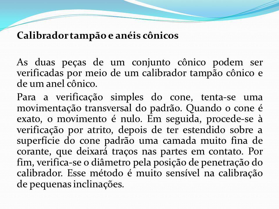 Calibrador tampão e anéis cônicos As duas peças de um conjunto cônico podem ser verificadas por meio de um calibrador tampão cônico e de um anel cônic