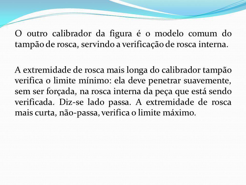 O outro calibrador da figura é o modelo comum do tampão de rosca, servindo a verificação de rosca interna. A extremidade de rosca mais longa do calibr