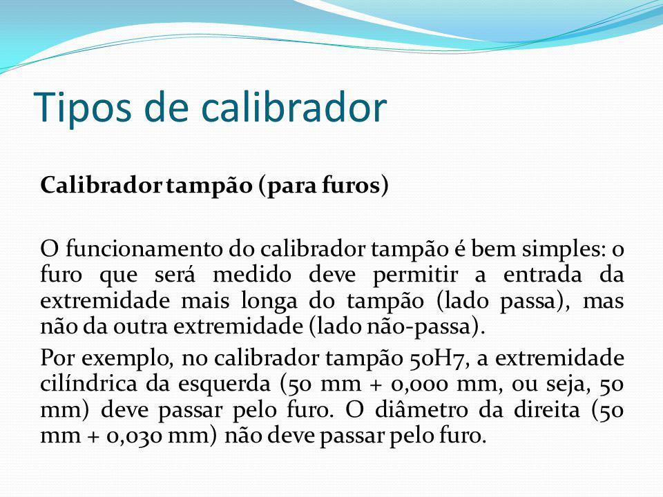 Tipos de calibrador Calibrador tampão (para furos) O funcionamento do calibrador tampão é bem simples: o furo que será medido deve permitir a entrada