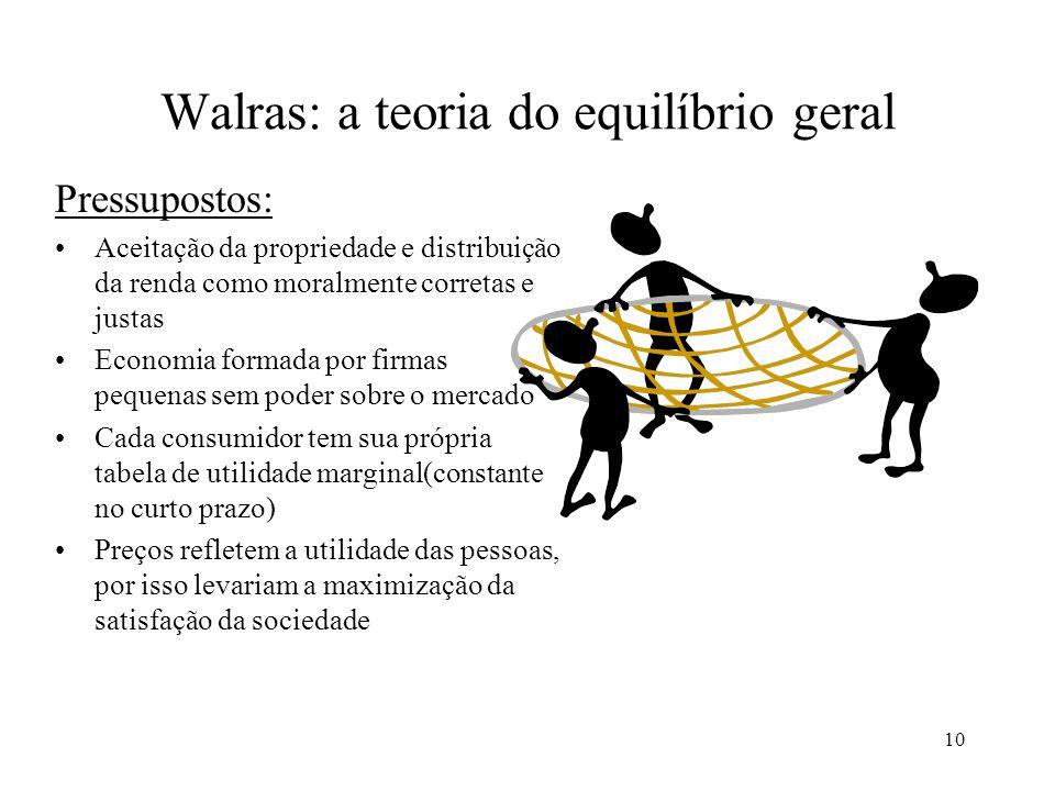 10 Walras: a teoria do equilíbrio geral Pressupostos: Aceitação da propriedade e distribuição da renda como moralmente corretas e justas Economia form