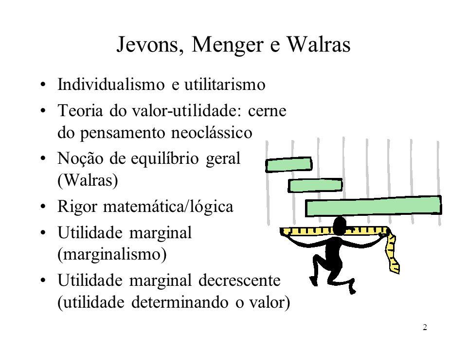 3 Jevons: Teoria de Utilidade Marginal Teoria da Economia Política, (1871) Valor depende da utilidade Análise econômica restrita a esfera da circulação Todos os homens são iguais (racionalismo, maximização da utilidade) Trocas voluntárias: bem-estar social Formulação científicada mão invisível
