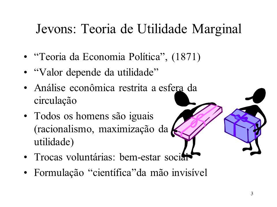 4 Jevons: Teoria de Utilidade Marginal Utilidade marginal decrescente Maximização: UMx/Px=UMy/Py Harmonia social: Renda reflete a utilidade dos fatores de produção (quando há liberdade para as trocas) Teoria do capital: produção=lucros+salários Operários só têm a ganhar com a acumulação