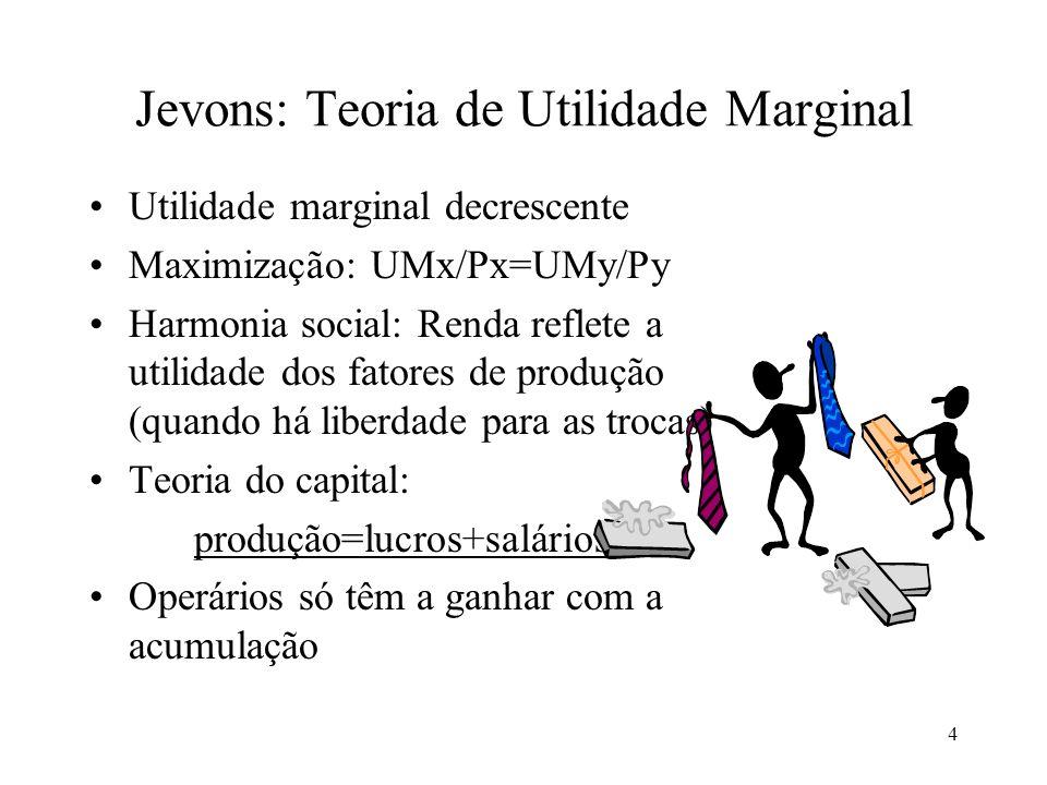 4 Jevons: Teoria de Utilidade Marginal Utilidade marginal decrescente Maximização: UMx/Px=UMy/Py Harmonia social: Renda reflete a utilidade dos fatore