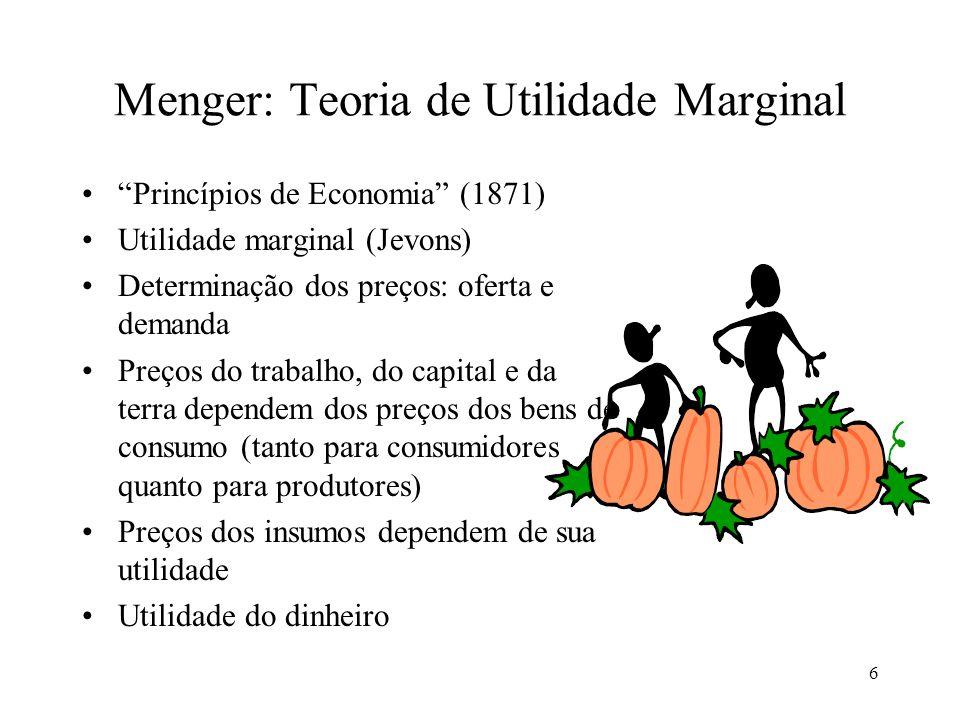 6 Menger: Teoria de Utilidade Marginal Princípios de Economia (1871) Utilidade marginal (Jevons) Determinação dos preços: oferta e demanda Preços do t