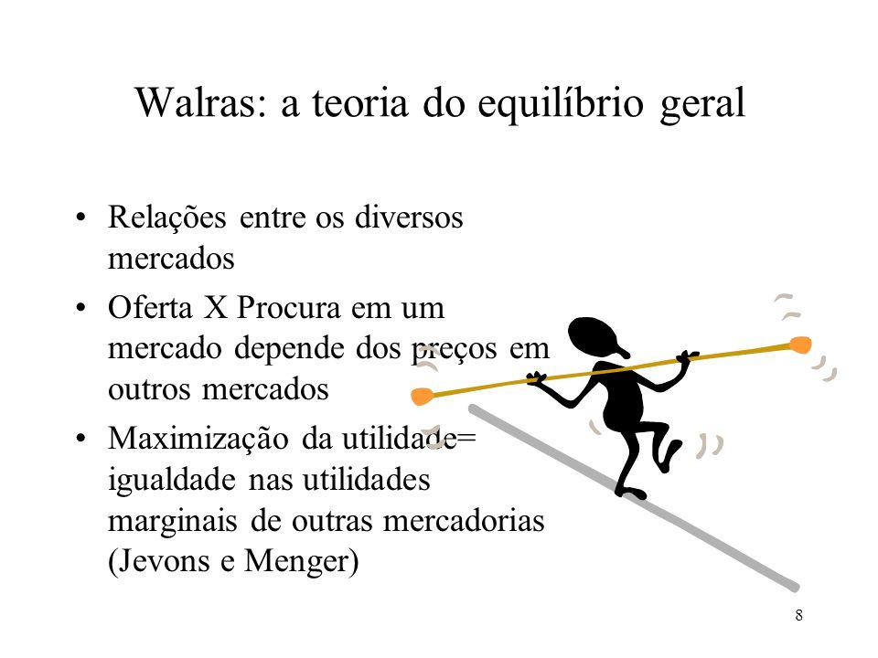 9 Walras: a teoria do equilíbrio geral Procura por um bem depende dos preços de todos os outros bens Pa depende de Pb, Pc, Pd,...Pz Pb, Pc, Pd,...Pz dependem de Pa Teoria que mostrasse como todos esses preços poderão ser determinados ao mesmo tempo