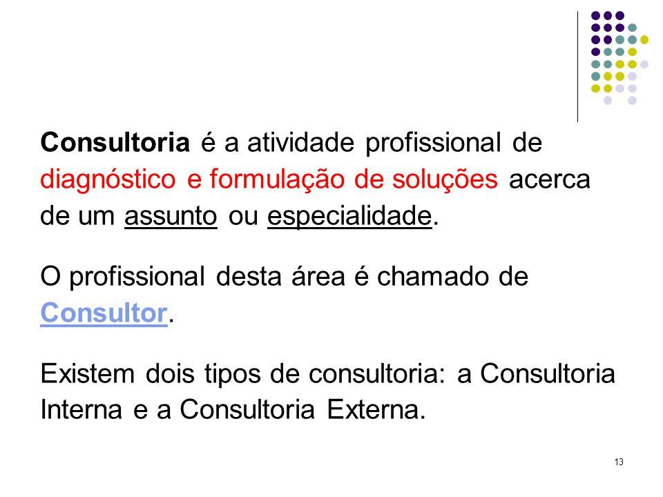 13 Consultoria é a atividade profissional de diagnóstico e formulação de soluções acerca de um assunto ou especialidade.