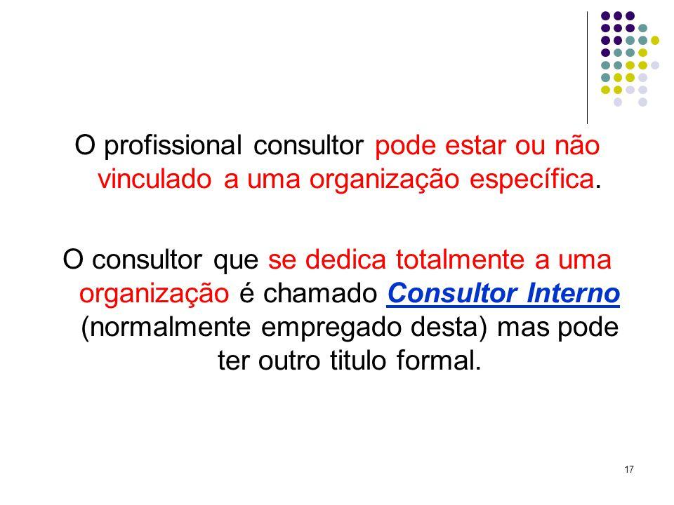 17 O profissional consultor pode estar ou não vinculado a uma organização específica.