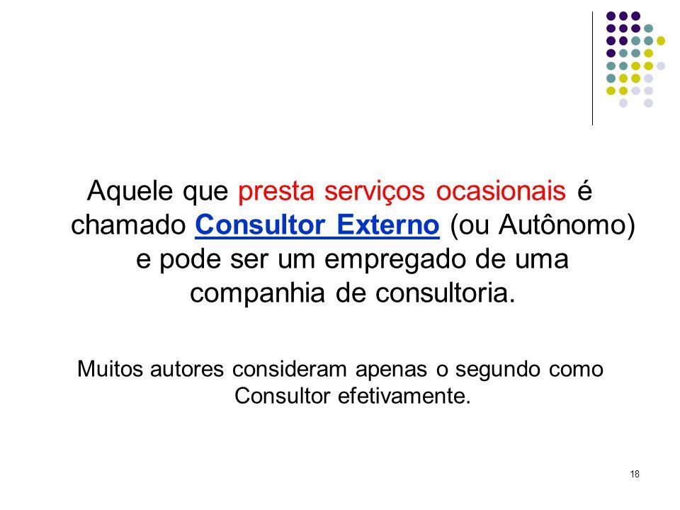 18 Aquele que presta serviços ocasionais é chamado Consultor Externo (ou Autônomo) e pode ser um empregado de uma companhia de consultoria.