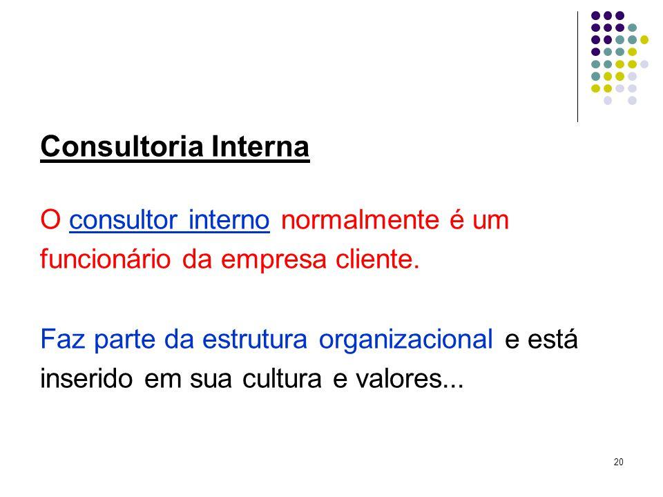 20 Consultoria Interna O consultor interno normalmente é um funcionário da empresa cliente.