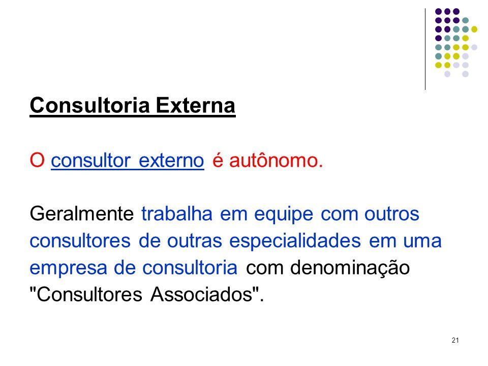 21 Consultoria Externa O consultor externo é autônomo.