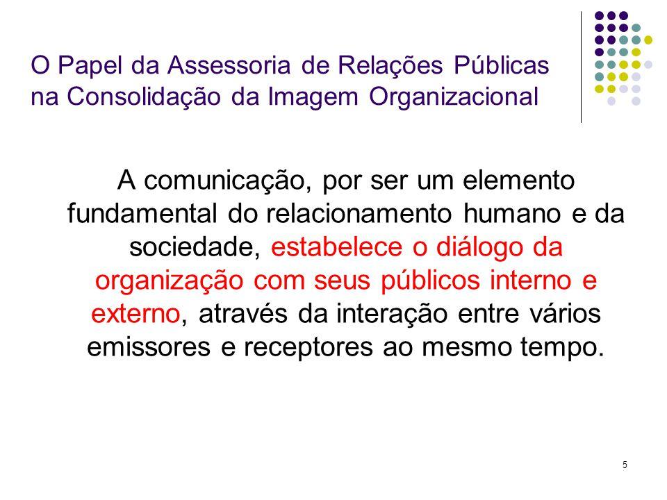 5 O Papel da Assessoria de Relações Públicas na Consolidação da Imagem Organizacional A comunicação, por ser um elemento fundamental do relacionamento humano e da sociedade, estabelece o diálogo da organização com seus públicos interno e externo, através da interação entre vários emissores e receptores ao mesmo tempo.