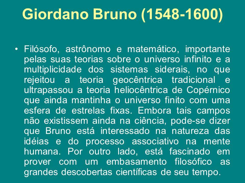 Giordano Bruno (1548-1600) Filósofo, astrônomo e matemático, importante pelas suas teorias sobre o universo infinito e a multiplicidade dos sistemas s