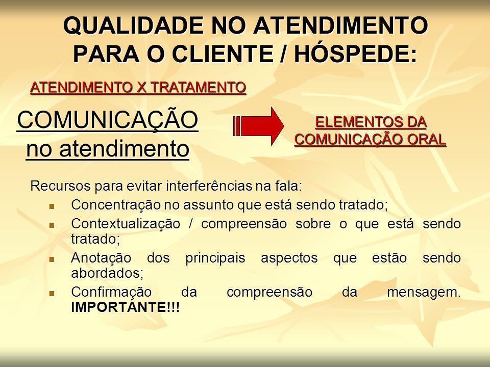 QUALIDADE NO ATENDIMENTO PARA O CLIENTE / HÓSPEDE: ATENDIMENTO X TRATAMENTO ELEMENTOS DA COMUNICAÇÃO ORAL COMUNICAÇÃO no atendimento Recursos para evi