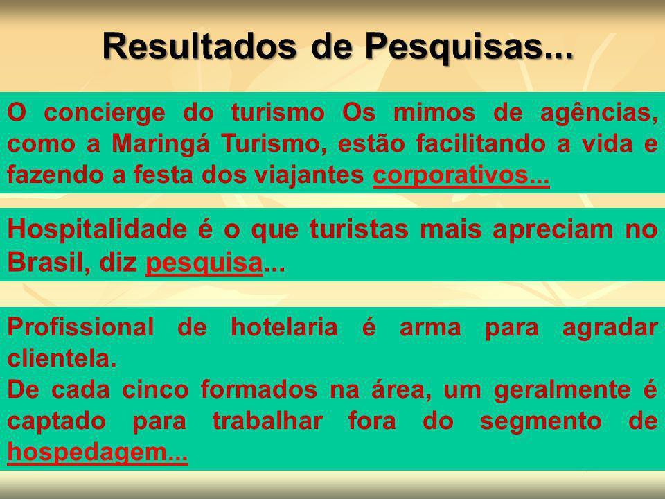 Hospitalidade é o que turistas mais apreciam no Brasil, diz pesquisa...pesquisa Profissional de hotelaria é arma para agradar clientela. De cada cinco